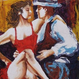 Painting of two tango dancers in Argentina