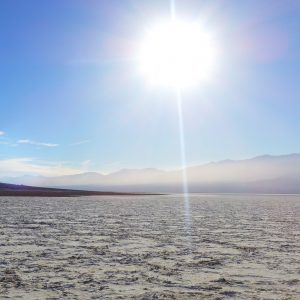 Sun on Death Valley salt flats