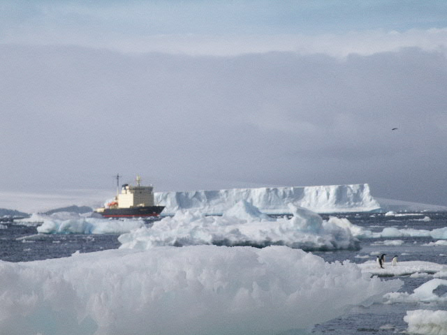 Massive Ice Flows with icebreaker in foreground