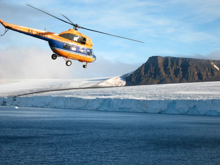 helicopter flight on Quark expedition cruise in the Arctic