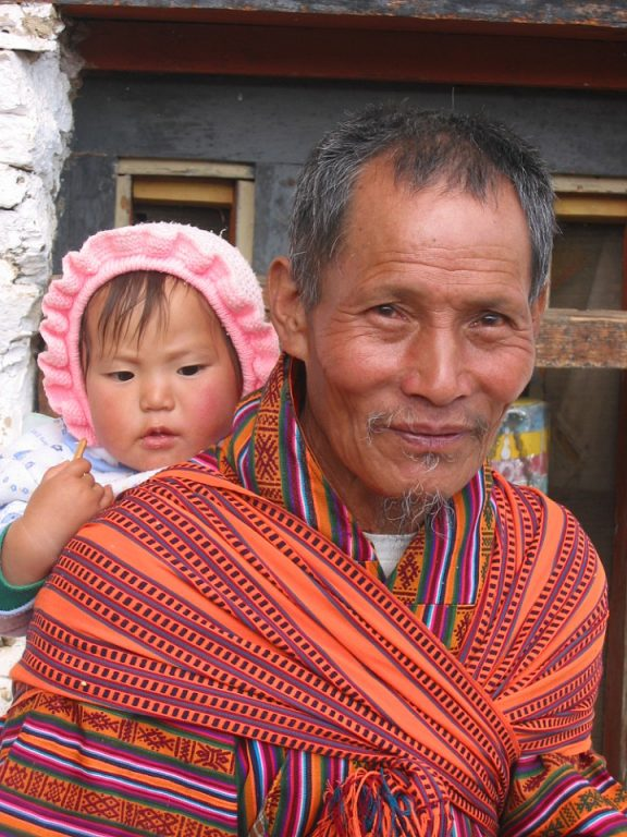 Bhutan, man and baby