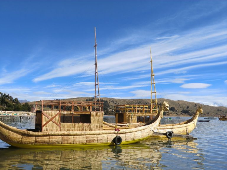 Reed boats in Lake Titicaca, bolivia