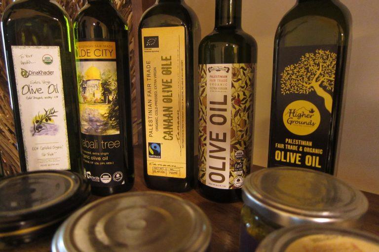 Bottles of Palestinian Olive Oil