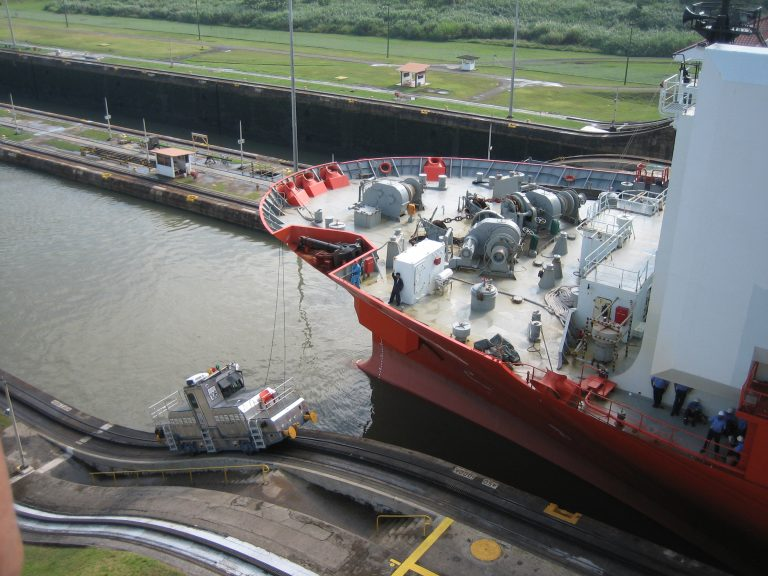 ship going through the Panama Canal