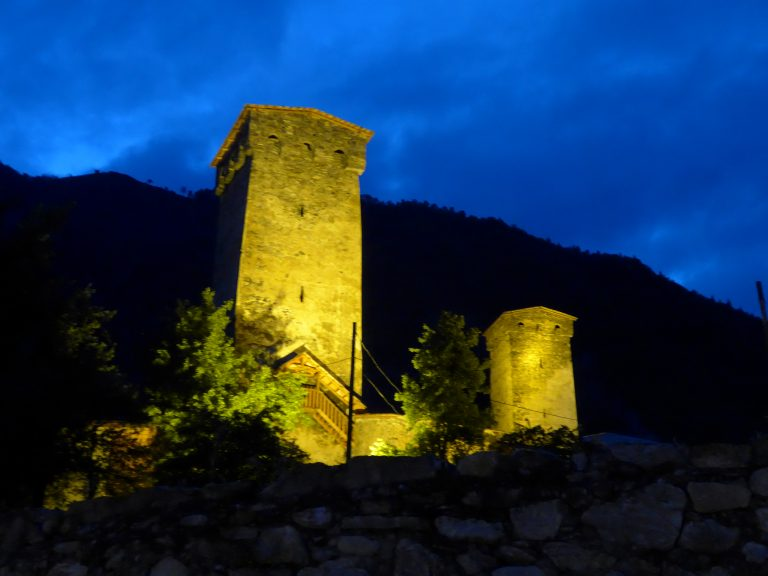 Svaneti towers at night