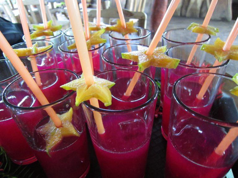 tray full of juice drinks